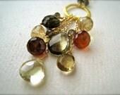 Harvest Festival Necklace - autumn gemstone necklace, citrine necklace, garnet necklace, handmade gold rust yellow gemstone necklace, N08