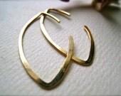 Buffy Earrings - hammered gold hoop earrings, gold marquis hoop earrings, everyday hammered hoop earrings, gold leaf hoop earrings, E05G