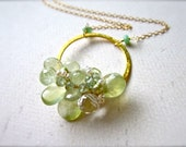 Mint Mojito Petite Cluster Necklace - prehnite cluster necklace, wire wrapped green gemstone necklace, prehnite handmade jewelry, CN05