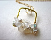 Heavenly Petite Cluster Necklace - moonstone necklace, moonstone cluster necklace, rainbow moonstone necklace, white bridal necklace CN01GSP