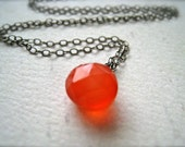 Juicy Fruit Necklace - grapefruit chalcedony gemstone necklace, oxidized silver, blood orange pendant, SF giants, persimmon orange stone