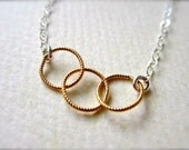 Trio Necklace - three circles necklace, mixed metal necklace, gold everyday necklace, mother circles necklace, bridesmaid gift N06/N07/N22