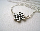 The Knot Necklace - celtic knot silver necklace, sterling silver knot necklace, endless knot necklace, bridal, N05S