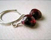 Cranberry Earrings - crimson garnet earrings, silver garnet earrings, scarlet garnet earrings, january birthstone, handmade jewelry, DE01