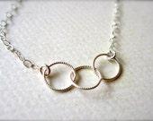 Trio Necklace - three circle necklace, triple circle necklace, twisted circles necklace, bridesmaid gift, trinity necklace, N06/N07/N22
