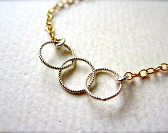 Trio Necklace - mixed metal necklace, gold circles necklace, silver circles necklace, everyday sister necklace, N06/07/22