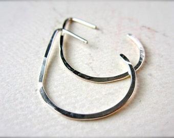 The Point Earrings - silver teardrop earrings, teardrop hoop earrings, hammered silver teardrop hoop earrings, bridesmaid gift, E04S