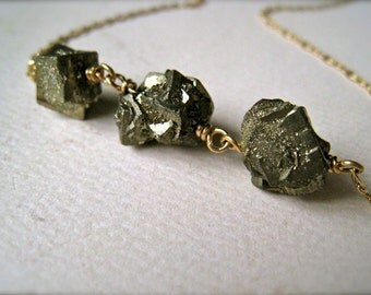 Gold Rush Necklace - fools gold nugget necklace, pyrite necklace, gold druzy pyrite necklace, organic gem, handmade pyrite jewelry, N13