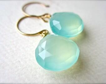 Sayuri Earrings - bold aqua gemstone earrings, gold, aqua blue chalcedony earrings, blue drop earrings, wedding jewelry