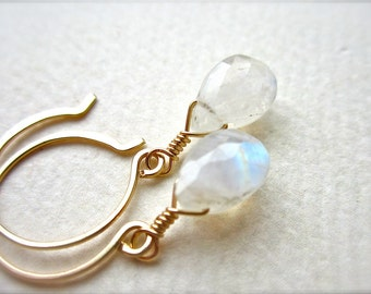 Moon River Earrings - rainbow moonstone earrings, white ethereal moonstone earrings, handmade jewelry, bridesmaid jewelry