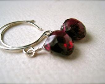 Cranberry Earrings - crimson garnet earrings, silver garnet earrings, scarlet garnet earrings, january birthstone, DE01