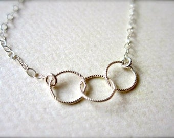 Trio Necklace - three circle necklace, triple circle necklace, twisted circles, bridesmaid gift, trinity, N06/N07/N22