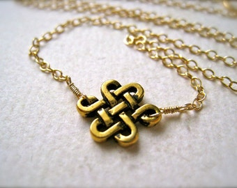 The Knot Necklace - gold celtic knot necklace, wire wrapped, everyday, handmade, handmade jewelry, gifts under 50, N05