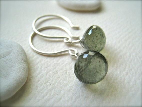 freckled orbs earrings - moss aquamarine gemstone earrings, sterling silver, delicate, simple, march birthstone, handmade jewelry