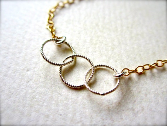 Trio Necklace - mixed metal necklace, gold circles necklace, silver circles necklace, everyday necklace, BFF sister necklace, N06/N07/N22