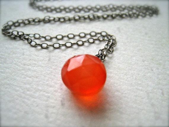 Juicy Fruit Necklace - grapefruit chalcedony gemstone necklace, oxidized silver, blood orange pendant, SF giants orange necklace, OS02