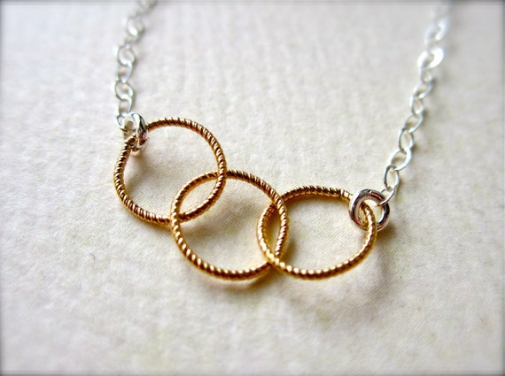 Trio Necklace - three circles necklace, mixed metal necklace, gold everyday necklace, bridesmaid gift N06/N07/N22