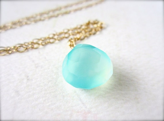 Sayuri Petite Necklace - aqua gemstone necklace, gold, aqua blue chalcedony solitaire, something blue, blue gem, N15