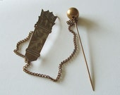 RESERVED for Karen Mynes   Antique Double Stick Pin Victorian Ornament Brooch