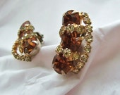1950s Glamour Earrings Honey Brown Amber & Yellow Rhinestones