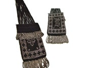 Victorian Antique Beaded Bag, B Monogram Black Crochet Silver Steel Beads,  Finger Ring, OOAK fashion collectible