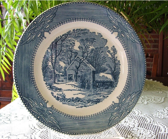 1960s Vintage Platter American Dinnerware Currier & Ives Tradition Country Winter Blue