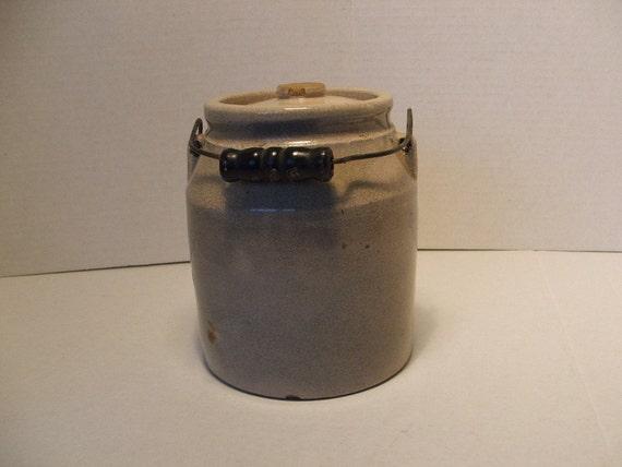 Antique Butter/Cream Stoneware Crock Bail Handle & Lid