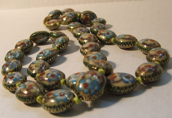 Vintage Cloisonne Bead Necklace / Celery Green & Floral / Knotted
