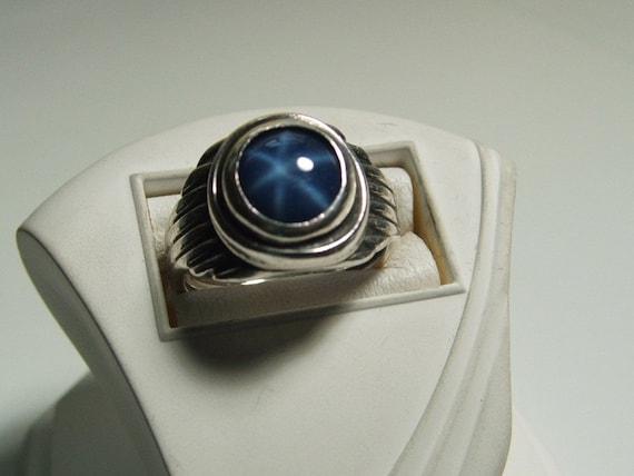 Vintage Ring Sterling Blue Linde Star Sapphire