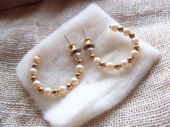 1984 Vintage Avon Earrings Simulated Pearl Hoops in Original Box Sale