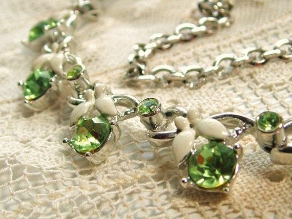 Classic Kramer Vintage 1950s Necklace Lime Green Rhinestone Flowers