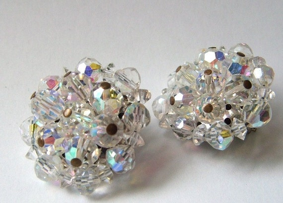 Vintage 1950s Round AB Crystal Earrings clip on