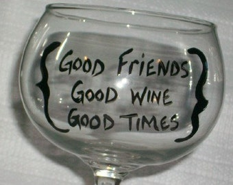 good friends balloon wine glass hand painted ecofriendly