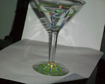 21st birthday martini glass hand painted- eco friendly