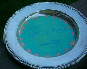 Silver plate chalkboard Mint green with coral MUSt HAve for your wedding