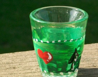 card suit  poker hand painted shot glasses