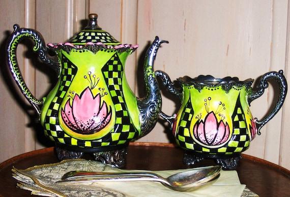 Lotus Hand Painted Tea Pots