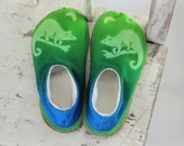 Handmade Slippers in Forest Greens with Possum Motif by Sunshadow.