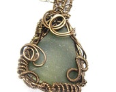 Bronze Beauty Wire Wrapped Sea Glass Necklace- Wire Wrapped Whimsey-Vintage Bronze on Copper Wire with Forest Green Sea Glass Bottle Lip