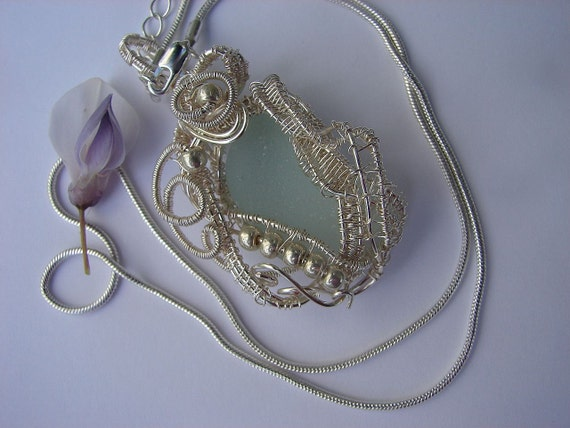 Wire Wrapped and Woven Soft Pale Aqua Sea Glass Pendant - Fine Silver plated -Spirit of the Sea - Rosalind