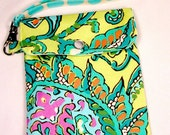 Cell phone holder wristlet purse camera, ipod, blackberry,wallet Dancing Paisley Lemon Amy Butler fabric - Ready to Ship