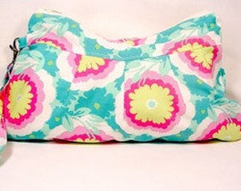 Wristlet Wallet / Zipper Clutch Pouch Buttercups in Spearmint Amy Butler Fabrics Handmade Purse
