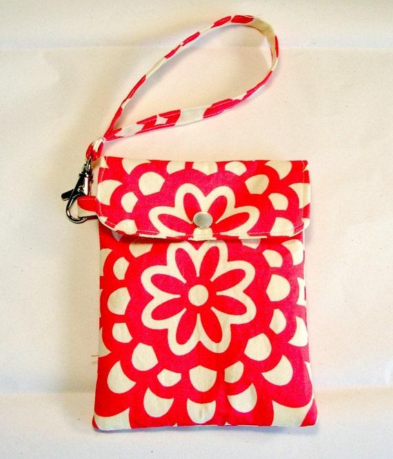 Cell phone holder / wristlet purse / camera / ipod /blackberry/ wallet Wallflower in Cherry - Amy Butler Fabrics