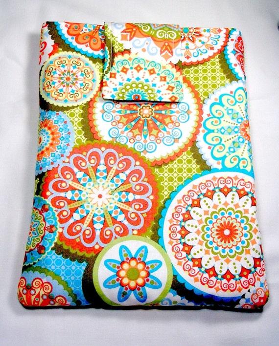Ipad, ipad2 , tablet sleeve, Case, Handmade, Ipad wallet velcro closure - Palm spring Green Jenean Morrison fabrics