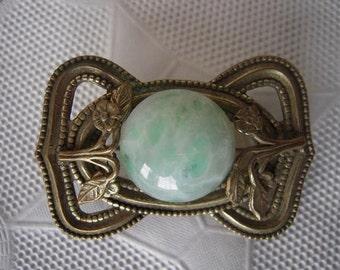 Antique Art Nouveau Scottish Green Agate Floral Repousse Brooch Pin