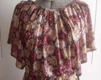 1970s Shear Knit Disco Dress Dancing Flower Queen Flutter Sleeves pinks Cranberry tan Size Medium