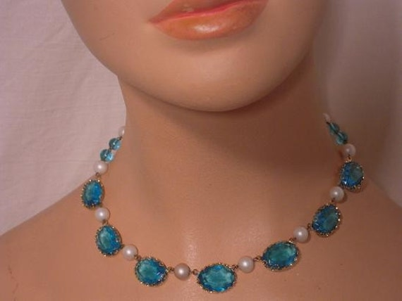 Vintage 30s 40s Western Germany Lacey Prong Set Aquamarine Lucid Glass and Faux Pearl Choker Necklace