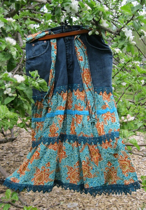 """Custom Order Upcycled denim ladies fancy teal orange tiered skirt,Sample is Plus Size 18 34 """" waist, recyled denim ,.upcycled clothing green"""