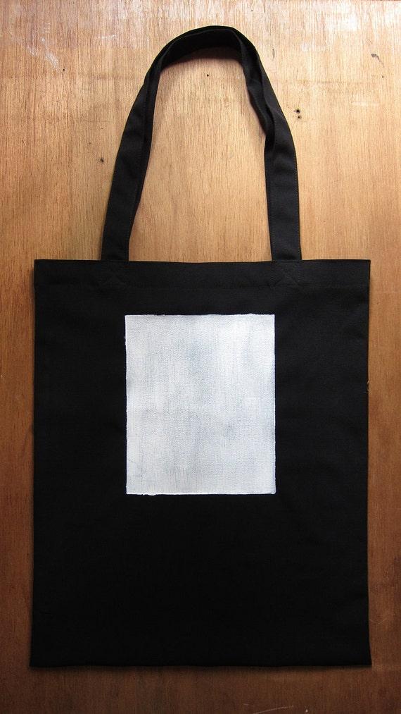 SALE - White Rectangle - handmade stenciled tote bag (black)