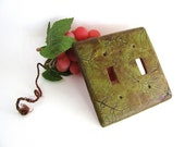 Rustic Faux Leather Dill Switch Plate Cover (double)